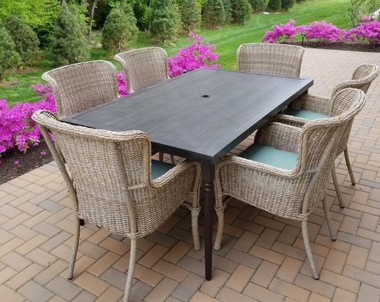 wicker outdoor dining set