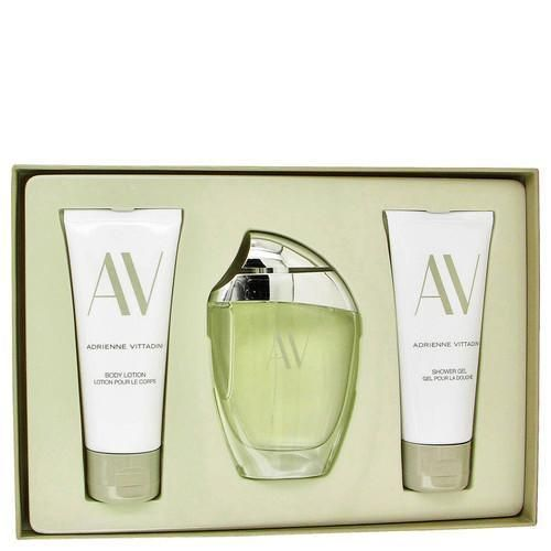 AV by Adrienne Vittadini Gift Set -- 3 oz Eau De Parfum Spray + 3.3 Body Lotion + 3.3 oz Shower Gel (Women)