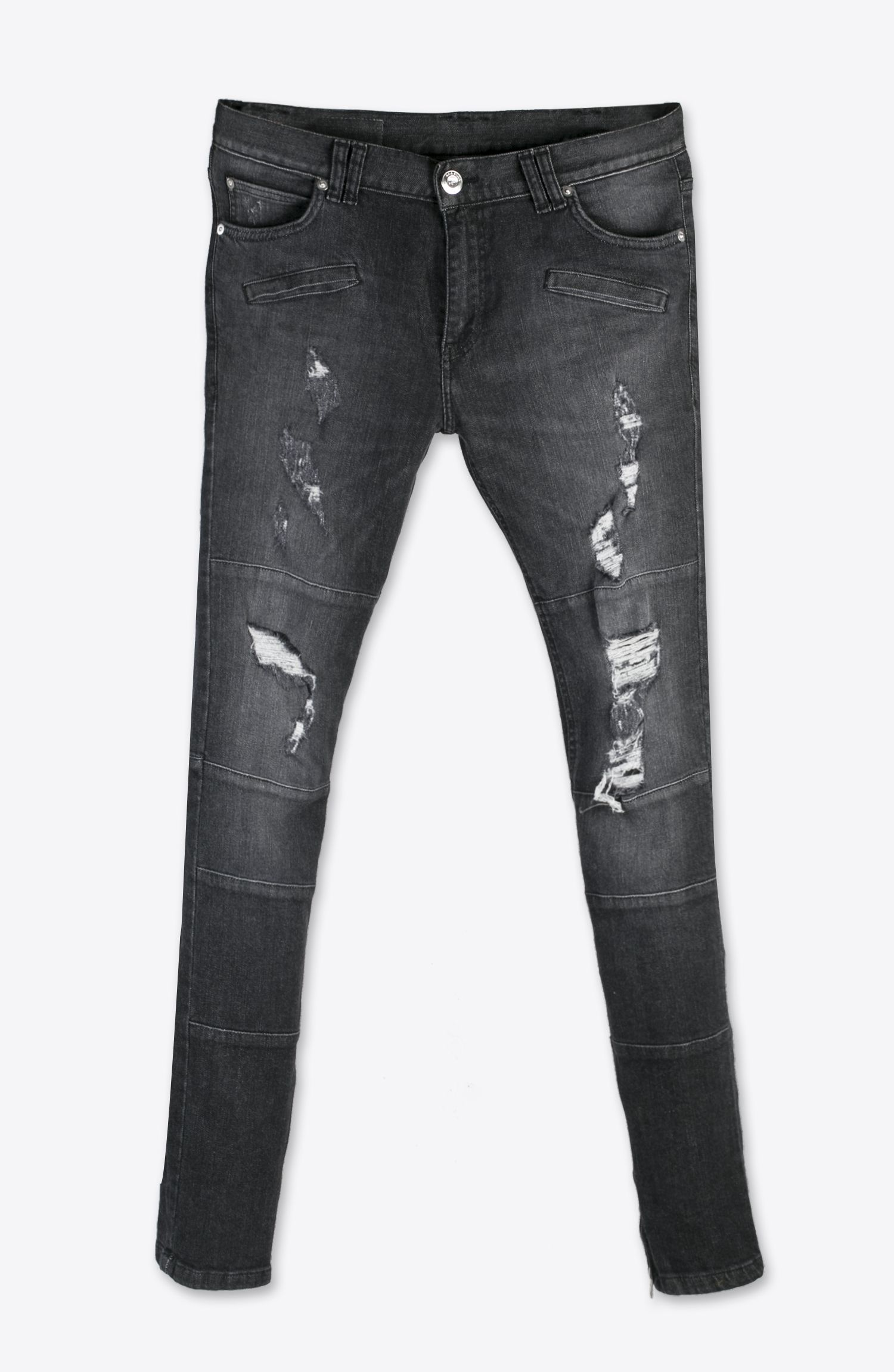 RIPPED DARK GREY BIKER SKINNY JEANS | denim | Pinterest | Grey ...