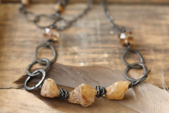 Ooak Citrine Quartz and Hammered Copper by Sparrowtaledesign
