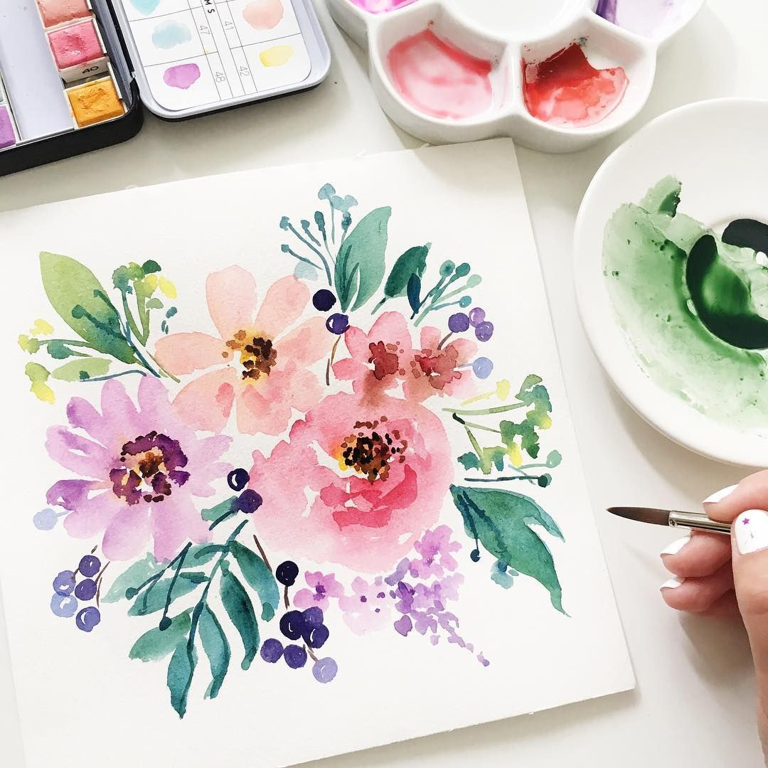 Anna Koliadych C Dearannart Sur Instagram Bonjour Du Soleil De Londres Je Ne Peux Pa Aquarell Aquarell Ideen Blumen Aquarell