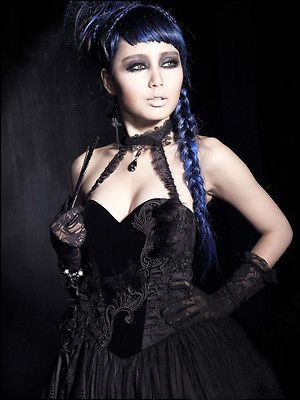 punk rave gorgeous baroness long dress goth formal black