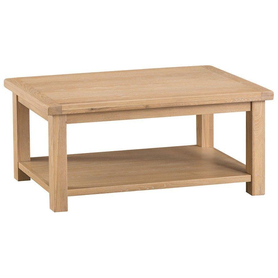 Coffee Table Light Oak Wood Colour Lower Shelf Storage Living Room