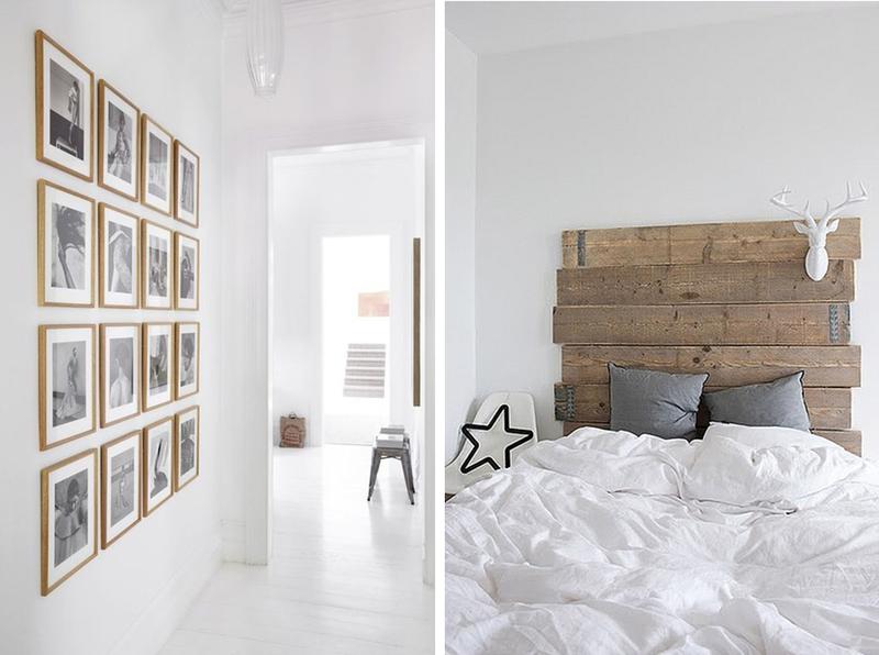 intrieur blanc et bois brut ide dcoration design mur tte de lit diy minimaliste inspiration