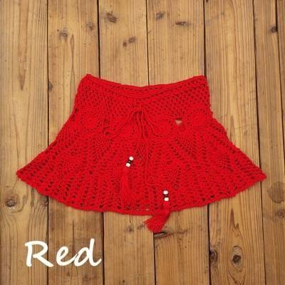 8 Color Hand Crochet Florens Skirt Women Sexy Beach cover up Skirt Boho Style elastic waistband - Pink M