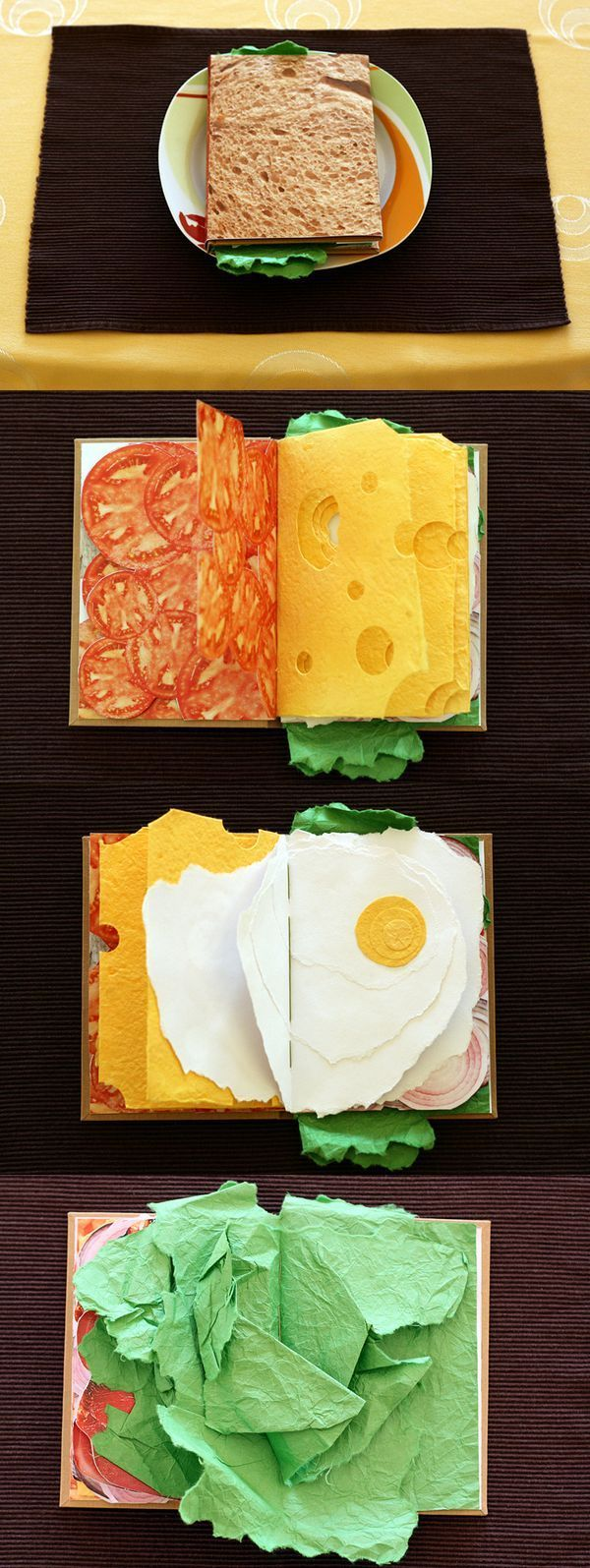 This book is an artists book created by pawel piotriwski. This sandwich book shows lots of different colours and textures to represent each piece of food. I think the colours make it seem more fun, and attract you to read it. This is a good format for representing food because it shows all the layers of the sandwich with each page, and the layers describe the item eg. the lettuce is looks quite realistic due to the way the paper is laid out.