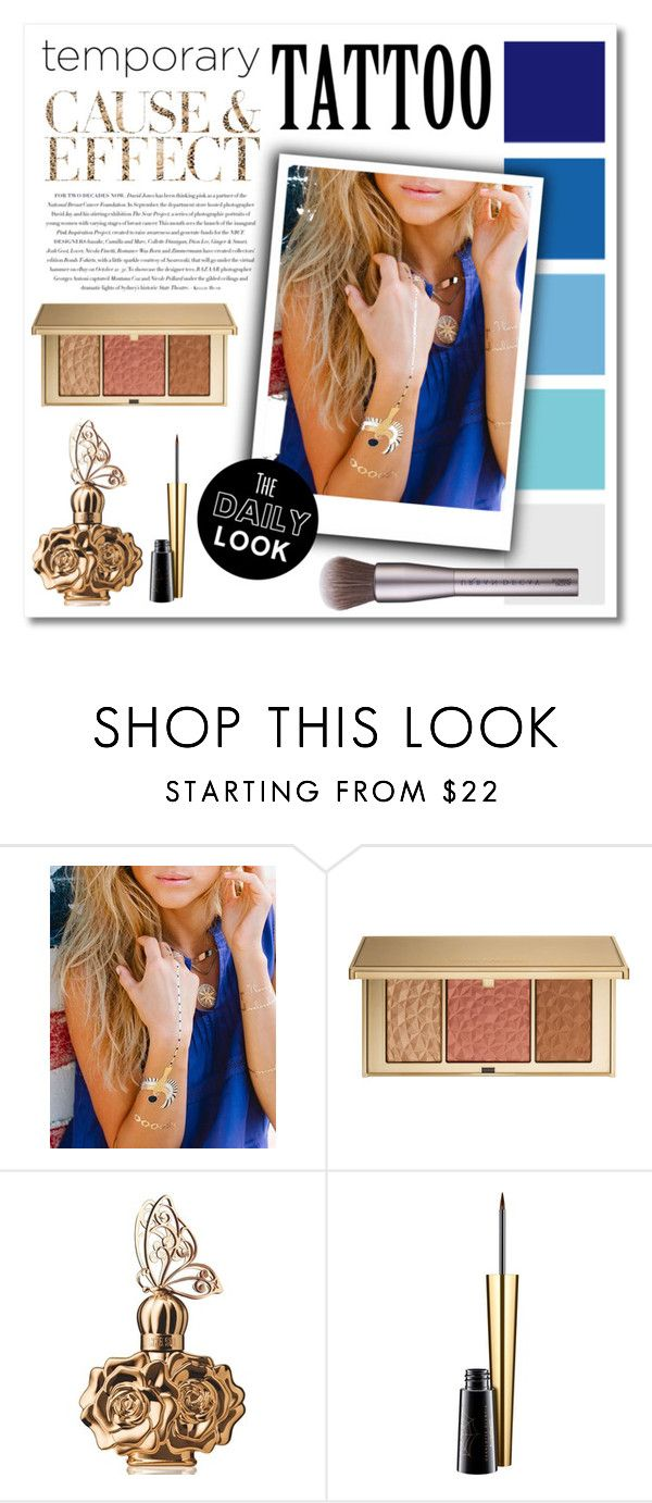 """""""Temporary Tattoo: Blue and Gold Edition"""" by montcastanon ❤ liked on Polyvore featuring beauty, Envi, Lulu DK, Estée Lauder, Anna Sui, MAC Cosmetics, Urban Decay and temporarytattoo"""