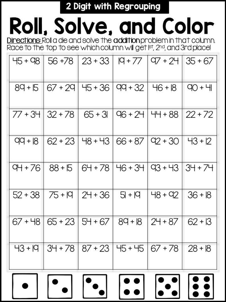 Second Grade Math Games Addition Subtraction Place Value In 2021 Second Grade Math First Grade Math Worksheets Third Grade Math Worksheets Addition math games grade 2