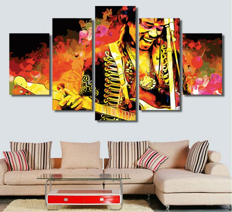 Framed poster 5 pieces canvas art guitar singer hd prints oil painting us 17 86