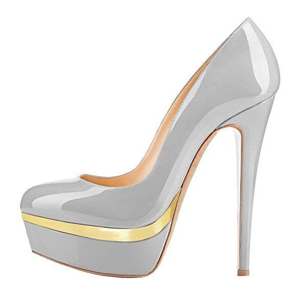 Elegante High-Heel mit Stiletto Absatz in Beige Schwarz und Größe 37 Pumps in Lacklederoptik fKSRgz7
