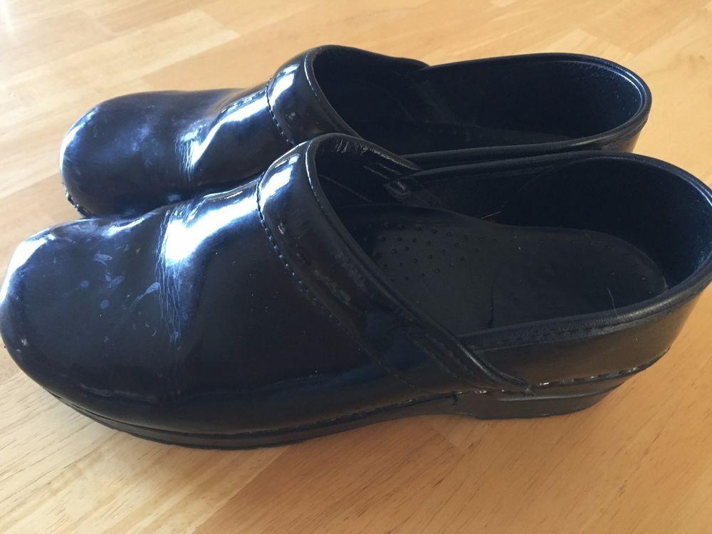 DANSKO Black Patent Leather Clogs Size 39 8 1/2 - 9 Professional Nursing  Shoes