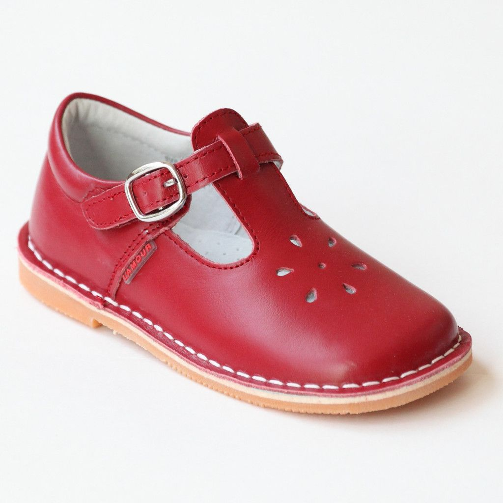 L Amour Girls Classic 751 Red Leather Mary Janes