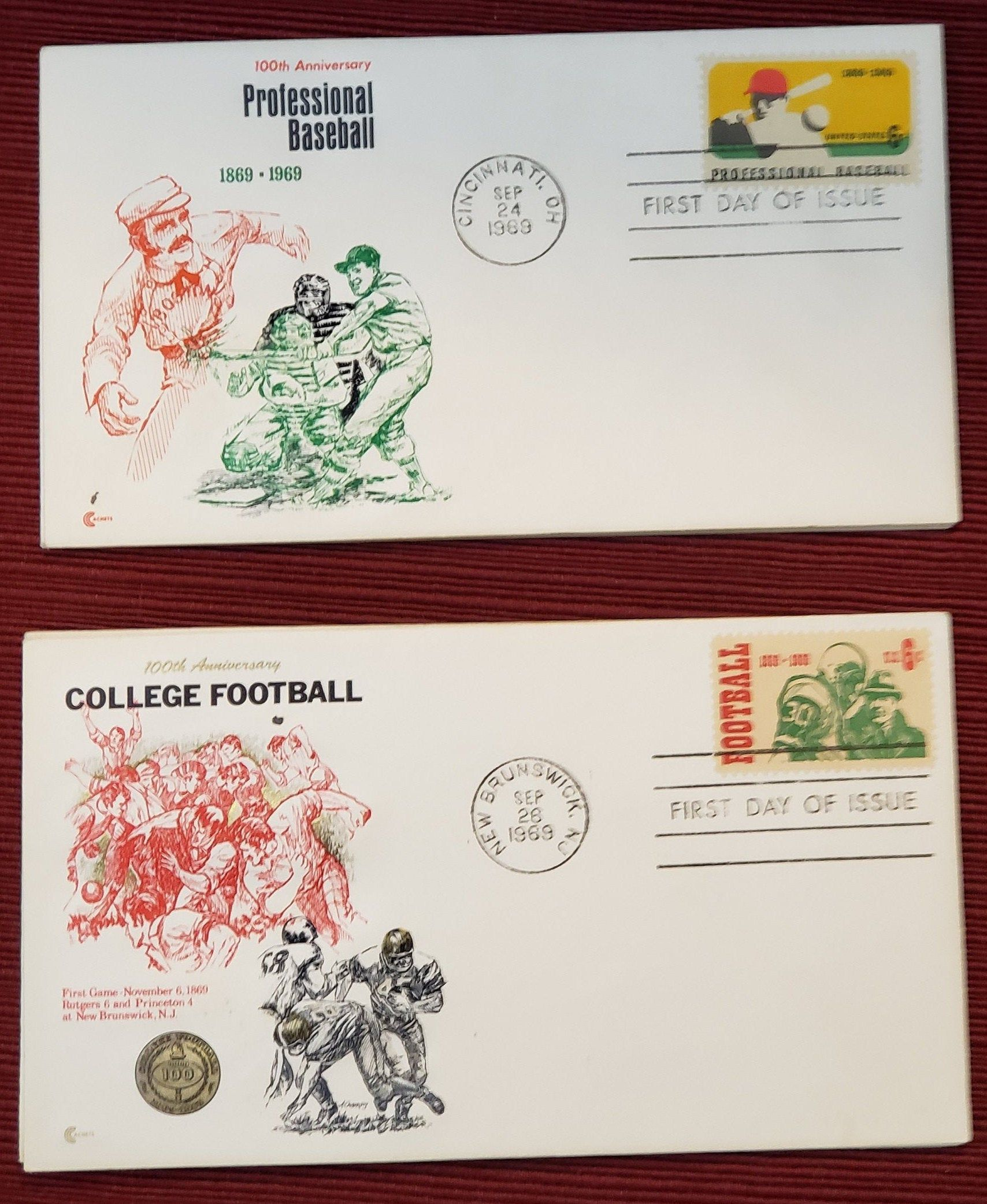 Vintage First Day Of Issue Postage Stamps Professional Etsy In 2020 Game Day Quotes College Football Professional Baseball