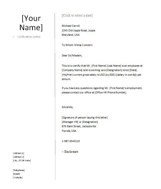 Proof Of Employment Letter   English Formal Letter