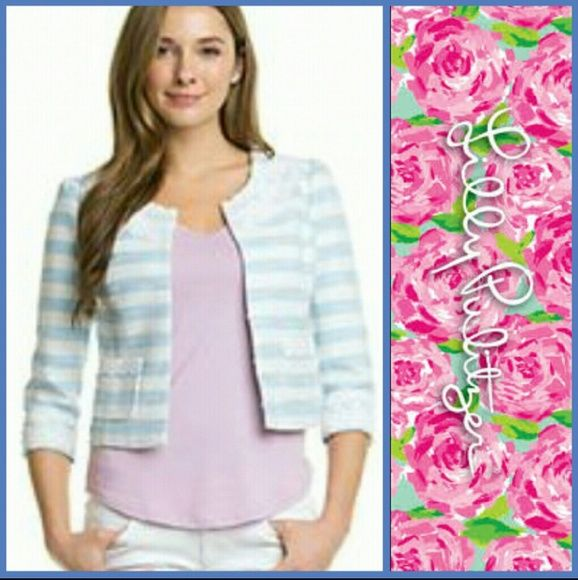 Lilly Pulitzer Blue Lurax Boucle Nelle Jacket Flutter blue Lurax Boucle Stripe Nelle jacket. Gorgeous and brand new with tags! So nice in person. Very detailed and quality made. Lilly Pulitzer Tops