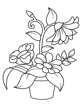 Ausmalbild Blumen Im Topf Blumenmalvorlagen Blumen Ausmalbilder Malvorlagen Blumen
