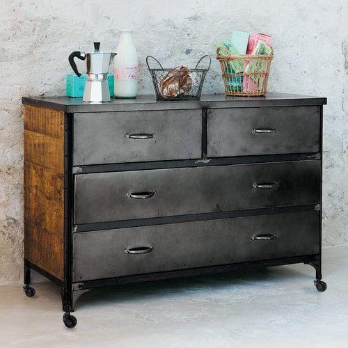 commode roulettes en m tal effet vieilli l 105 cm apartment stuff pinterest roulette. Black Bedroom Furniture Sets. Home Design Ideas