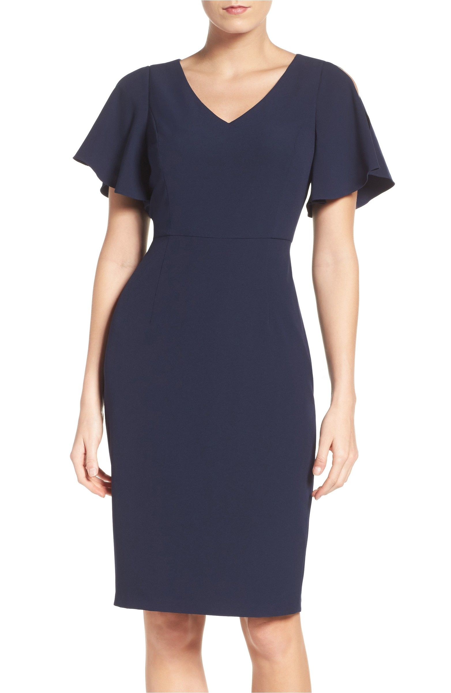 Main Image - Adrianna Papell Cold Shoulder Stretch Sheath Dress ...