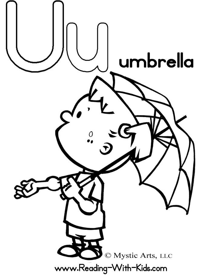 Letter u coloring sheet u is for umbrella underwear for Letter u coloring pages