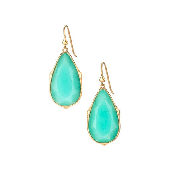 Stella & Dot Ocean Quartz & Goldtone Sentiment Stone Drop Earrings ($25) ❤ liked on Polyvore featuring jewelry, earrings, stone jewelry, stella dot jewelry, gold tone earrings, goldtone jewelry and quartz jewelry