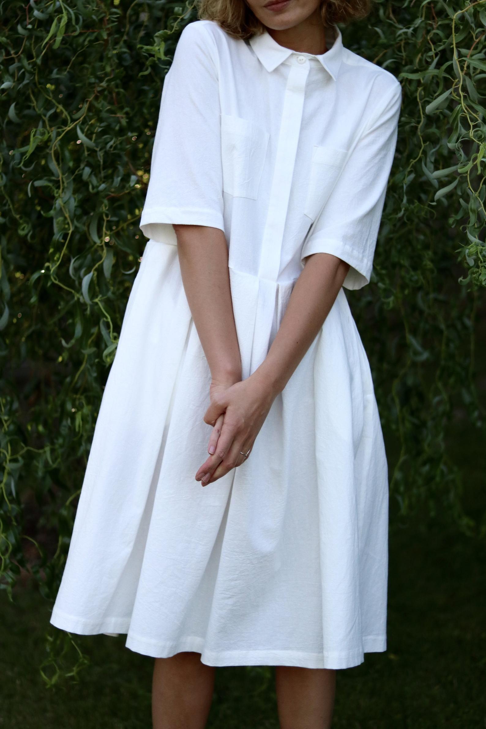 White Cotton Shirt Dress  Pleated Skirt Dress  OFFON CLOTHING
