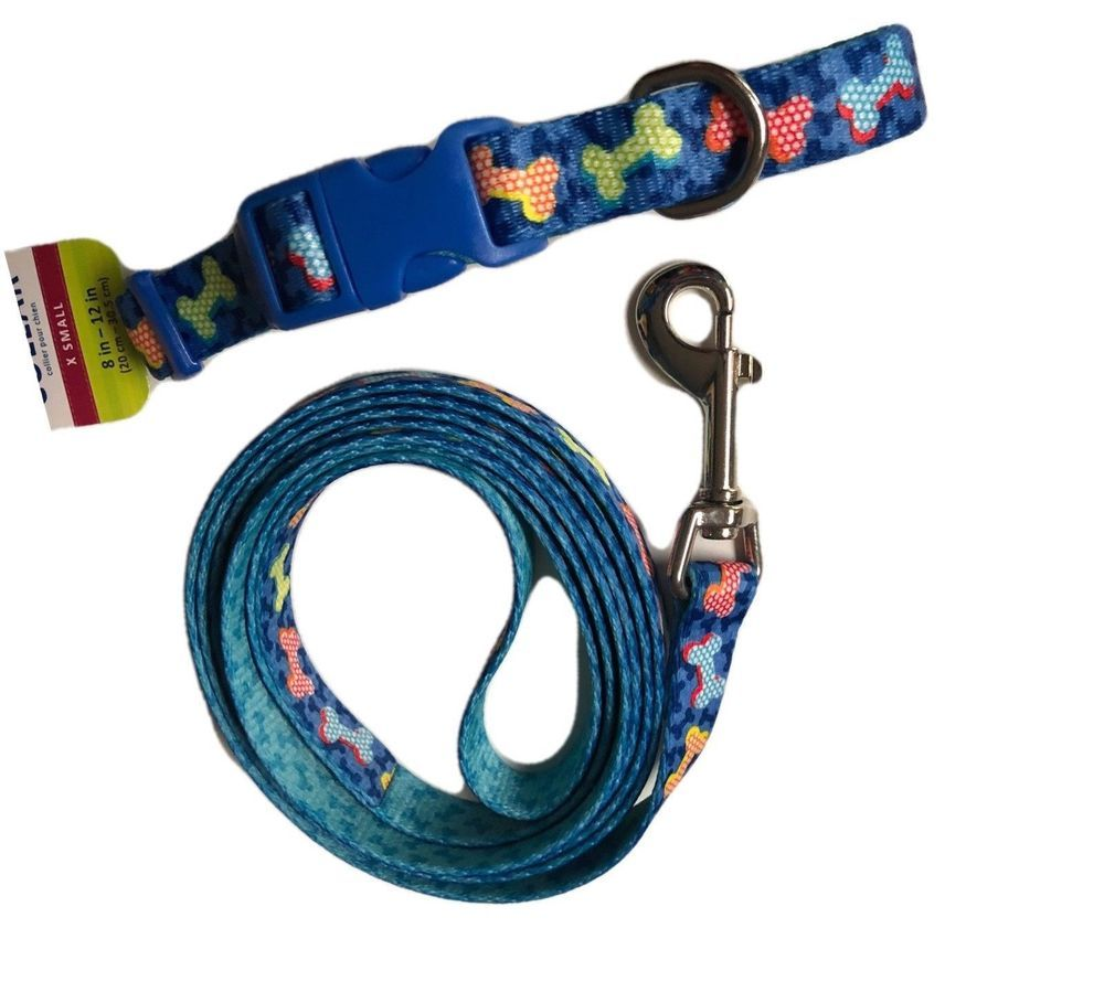 Dog Collar And Leash Set Adjustable Bone Pattern Blue Multi Color Top Paw Soft Toppaw Collar And Leash Multi Color Tops Dog Life