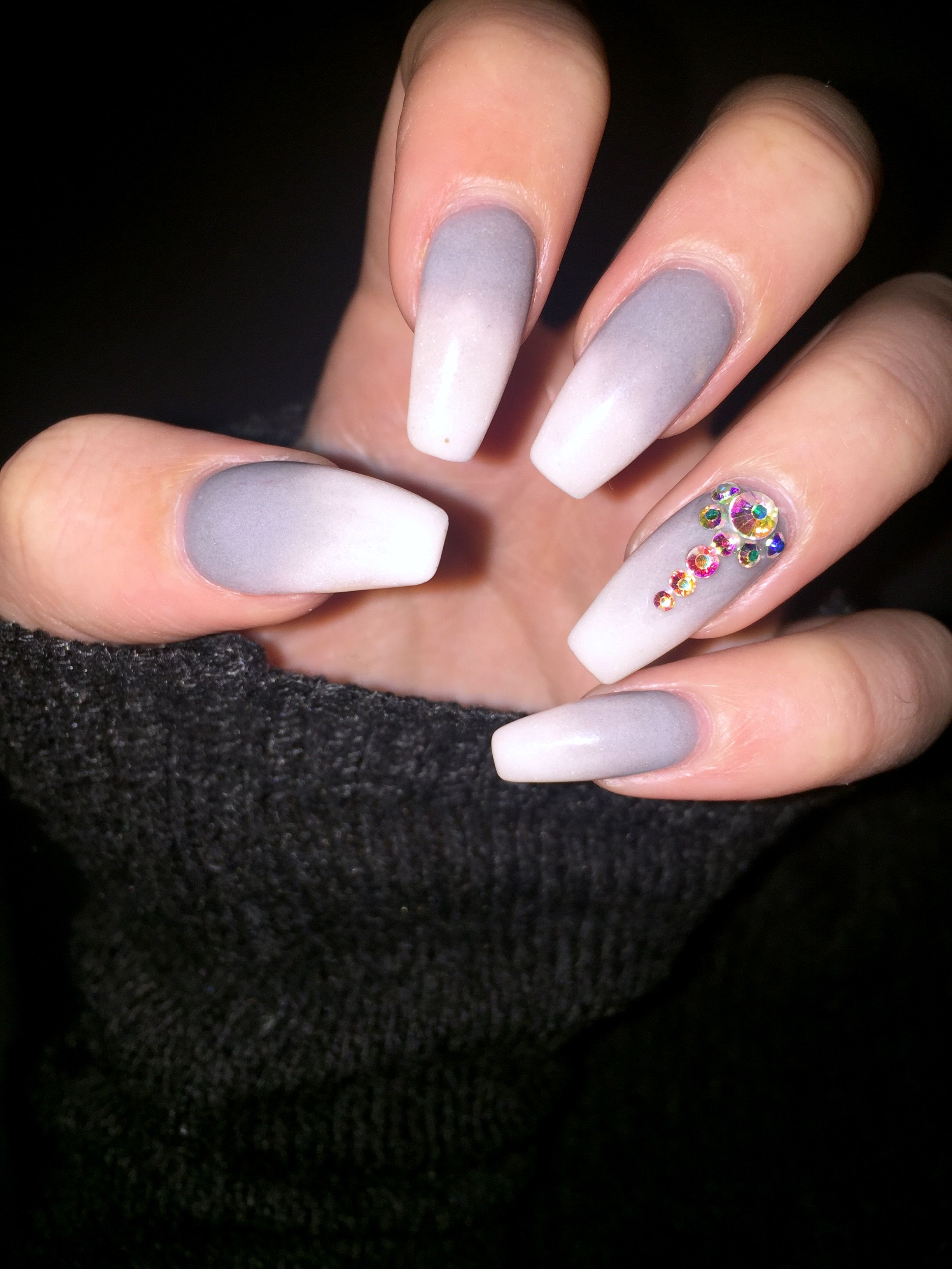 grey ombre coffin nails with bling #greynails #ombrenails ...