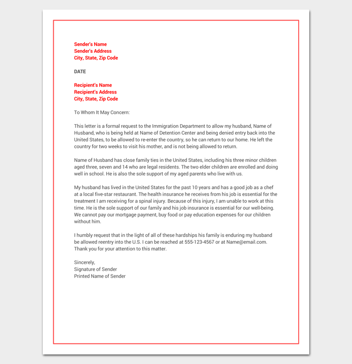 Hardship Letter For Immigration Word Doc  Sample Example