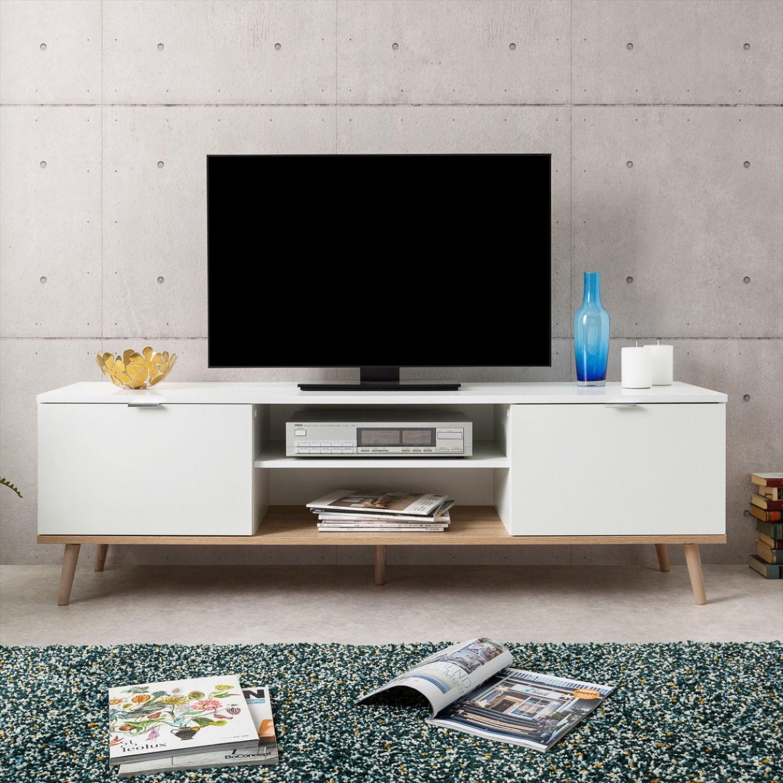 meuble tv tendance blanc et chene