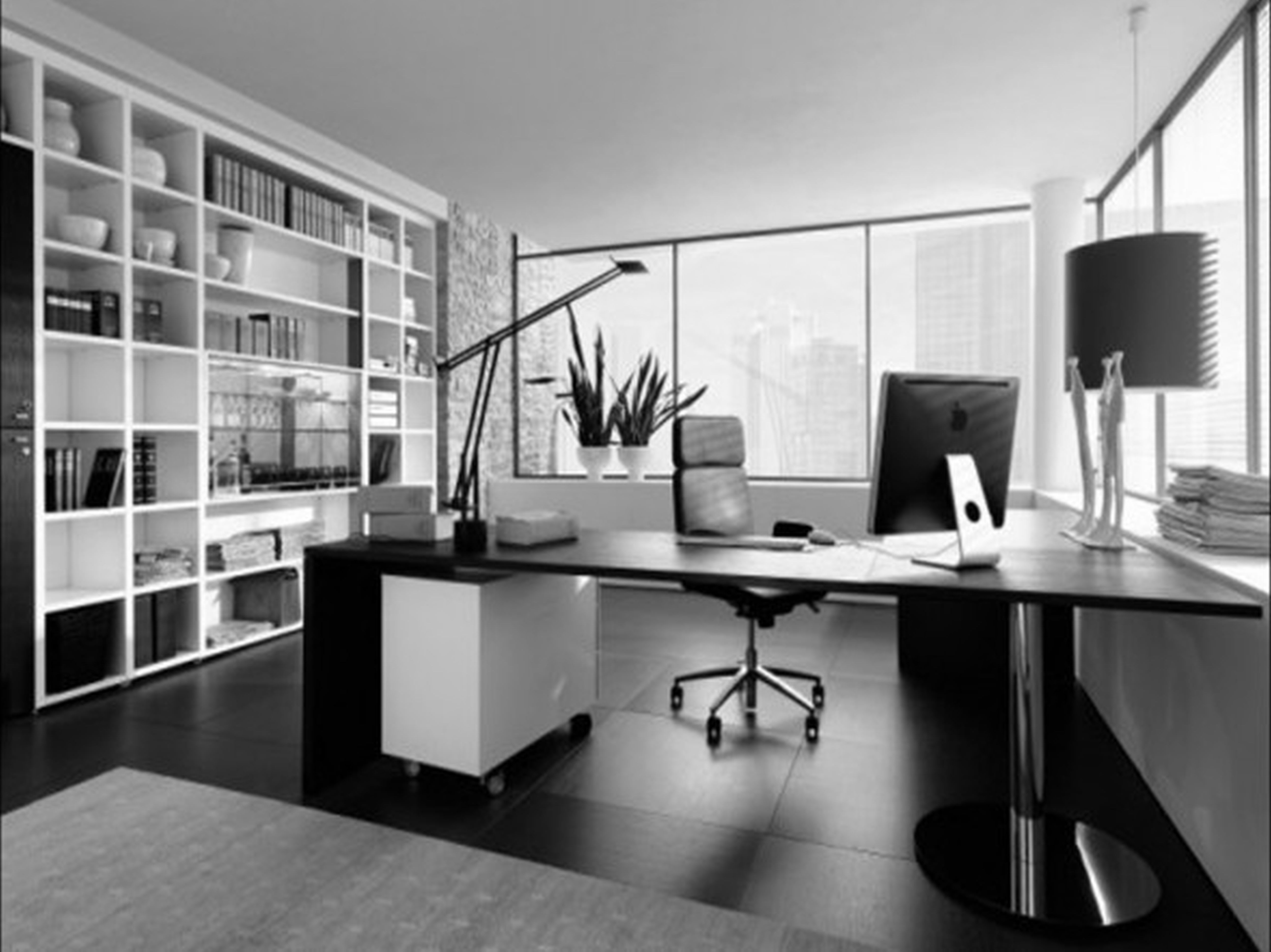 Beautiful And Fancy Black Office Desk And Swivel Leather Chair With Unique T Modern Office Interiors Office Interior Design Modern Modern Home Office Furniture