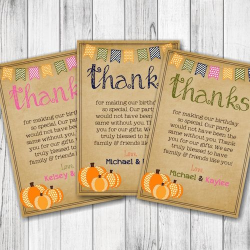 Fall Birthday Thank You Card Little Pumpkins Thank You Card