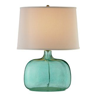 Crystal Teal Seeded Glass Table Lamp
