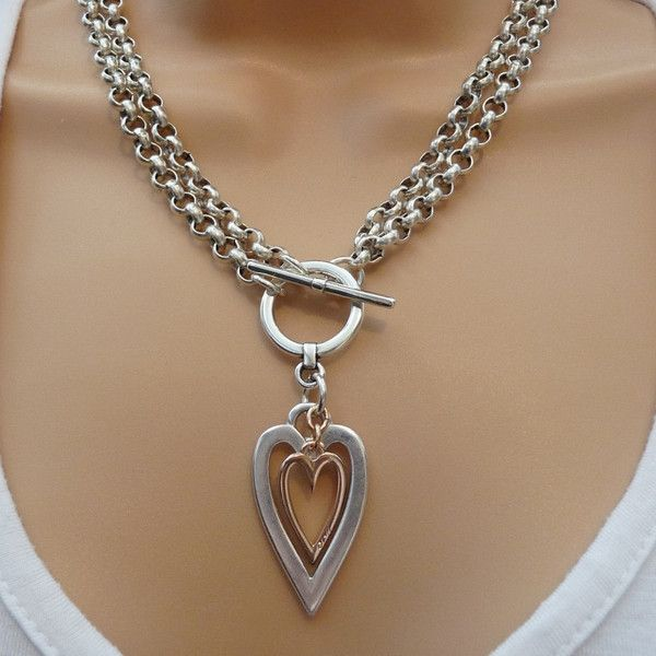 Open heart and mini heart chunky double necklace silver and rose