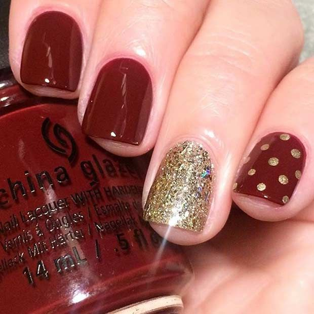 Classy Dark Red and Gold Design for Short Nails - 55 Super Easy Nail Designs Accent Nails, Super Easy And Bright