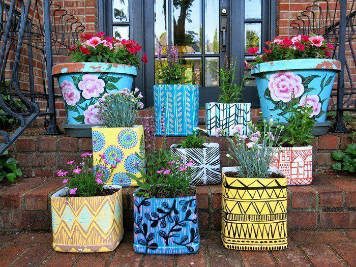 blumentopf bemalen basteln mit kindern diy ideen gartengestaltung balkon gestalten farbgebung in. Black Bedroom Furniture Sets. Home Design Ideas
