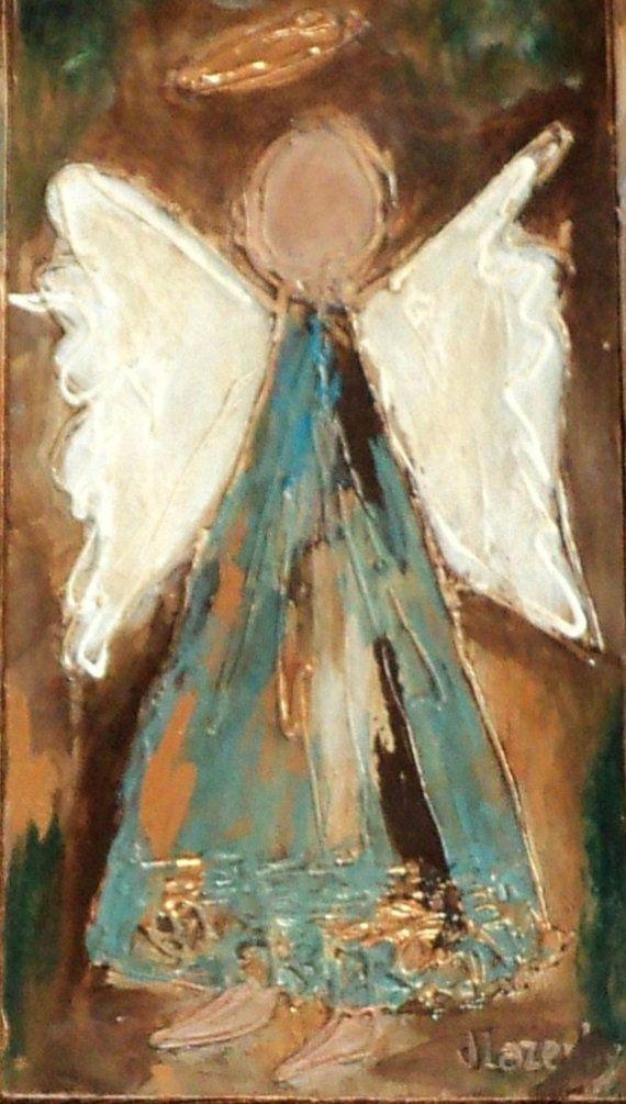 Hand painted custom original angel mixed media fine art