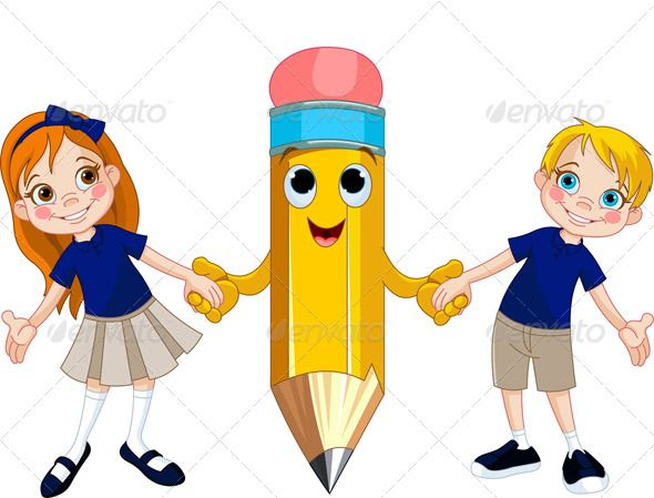 Cartoon Characters Holding Hands : Students and pencil holding hands boy cartoon