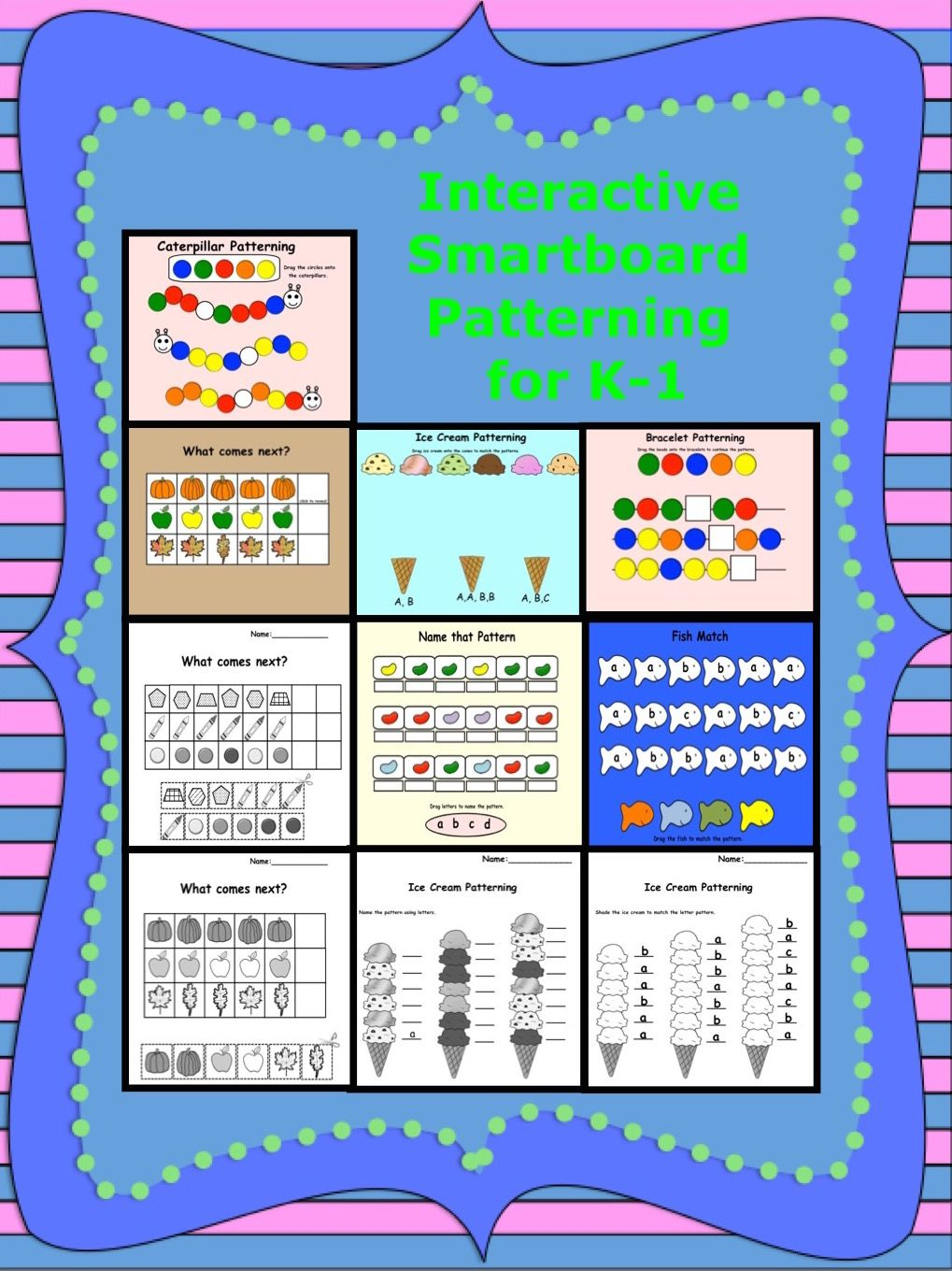 Interactive Smartboard Patterning for K-1 | Math, Math patterns and ...