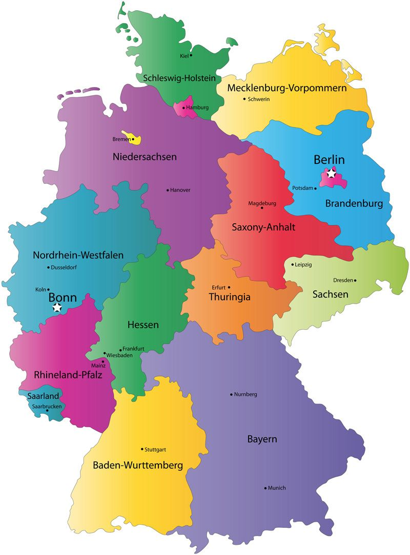 Regions Of Germany Map.Map Of The Different Regions In Germany Germany Germany Travel