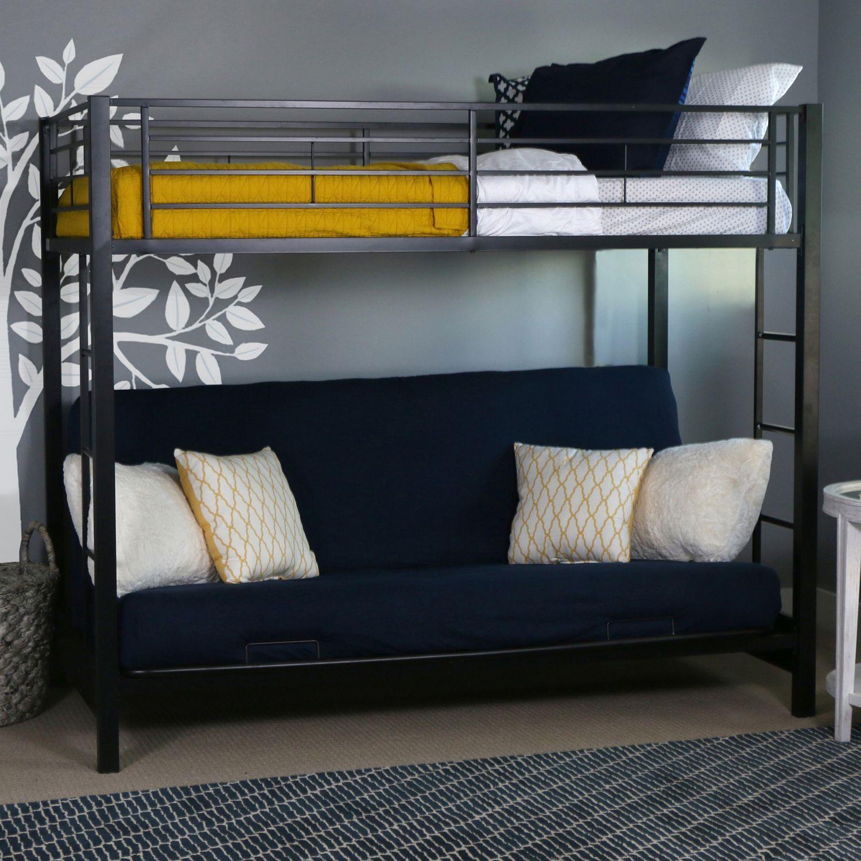 Premium Metal Black Twin Over Futon Bunk Bed