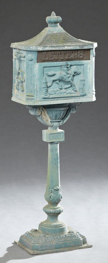 Victorian Style Cast Aluminum Mailbox On Stand, 20th : Lot