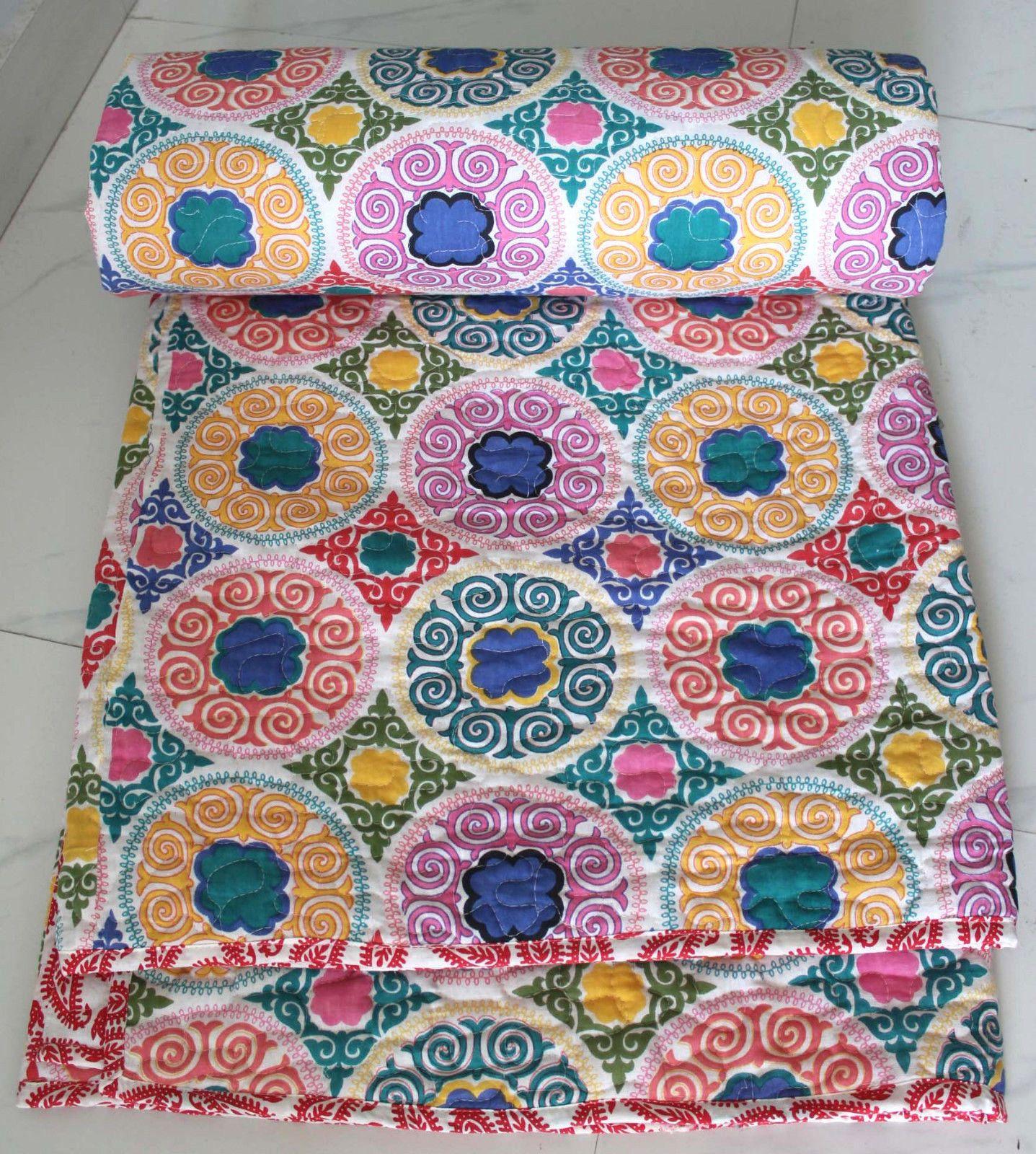 Cotton Comforter Queen Indian Quilts Winter Duvets Multi