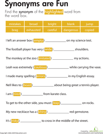Synonyms are Fun Synonym worksheet, Grammar worksheets