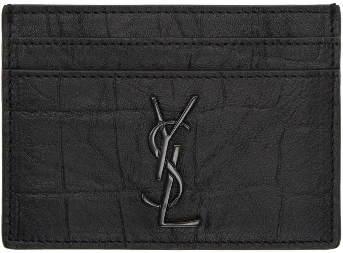 85aaaf54b719 Saint Laurent Black Croc Logo Card Holder 182418M163006 Croc-embossed  calfskin card holder in black