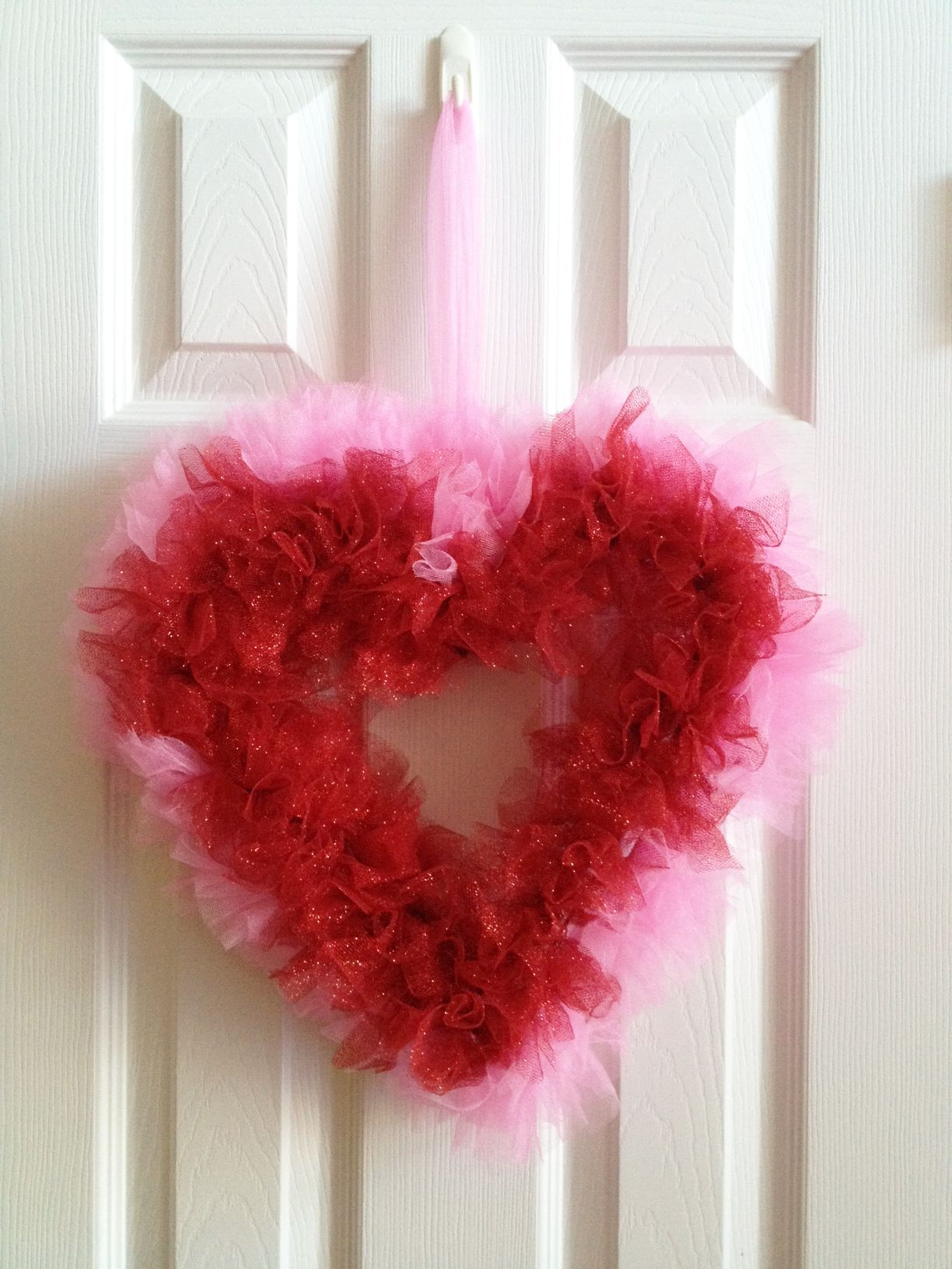 Simple Valentine Wreath Made With Tulle And A Metal Heart Frame. @Hobby  Lobby