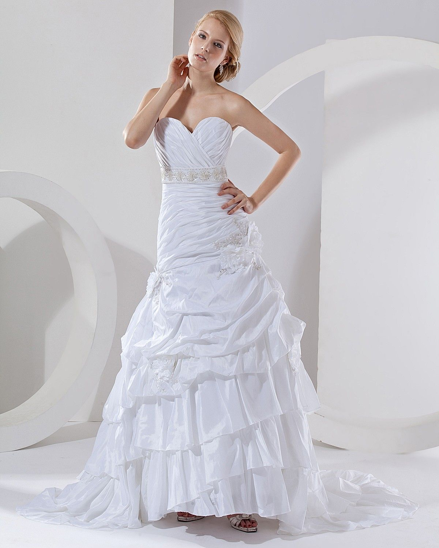 Strapless bra for wedding dress plus size  ALine Sweetheart Layered Applique Pleated Monarch Train Taffeta
