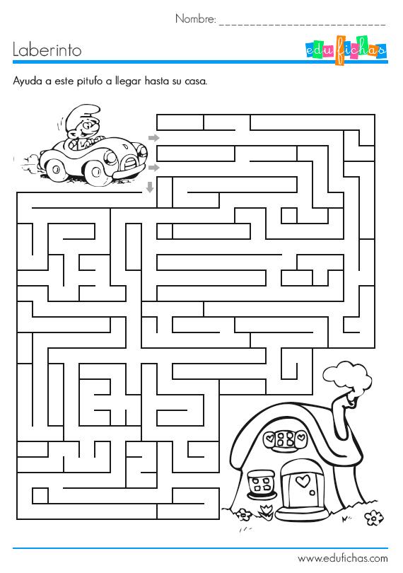 Ficha infantil laberinto, con dibujo de los Pitufos   lógico ...