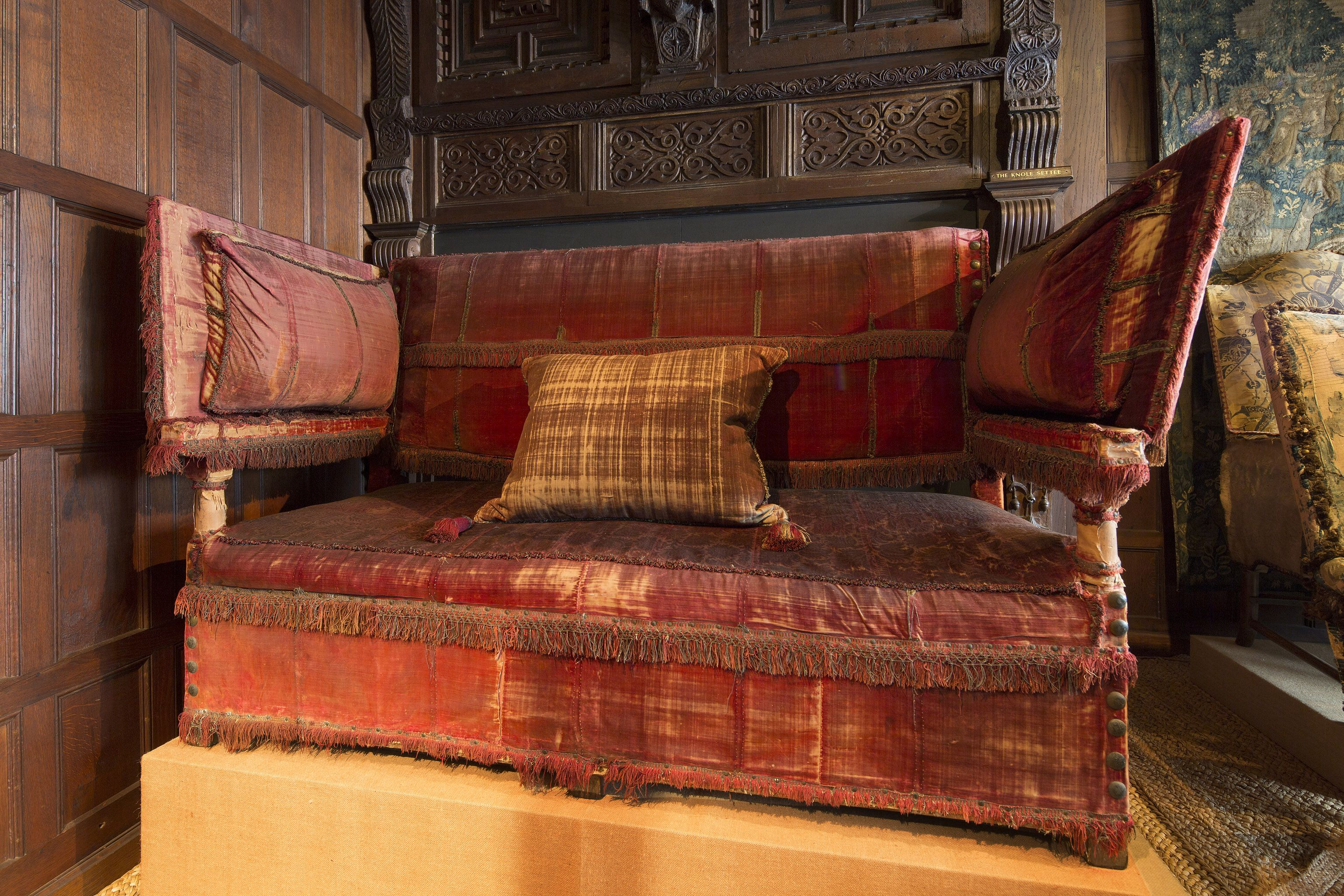 Knole Sofa (settee) Jacobean Style. Panels, And Adjustable Arm Rest.
