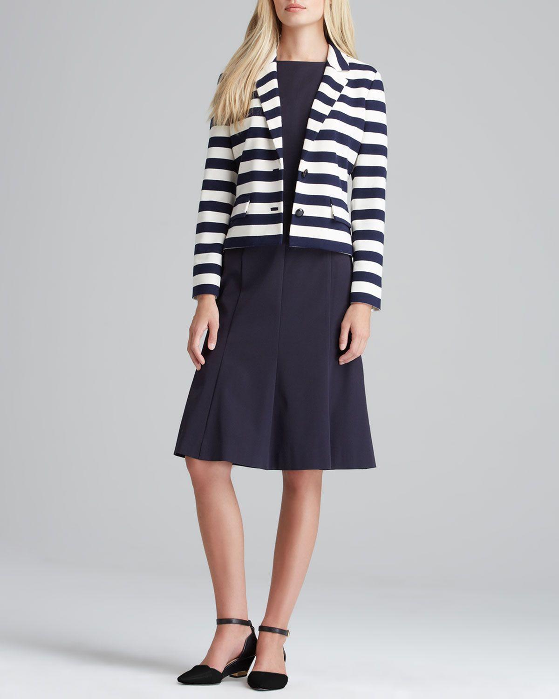 30675946c1bfa Tory Burch Augusta Striped Knit Blazer   Shania Flare-Skirt Dress - Neiman  Marcus