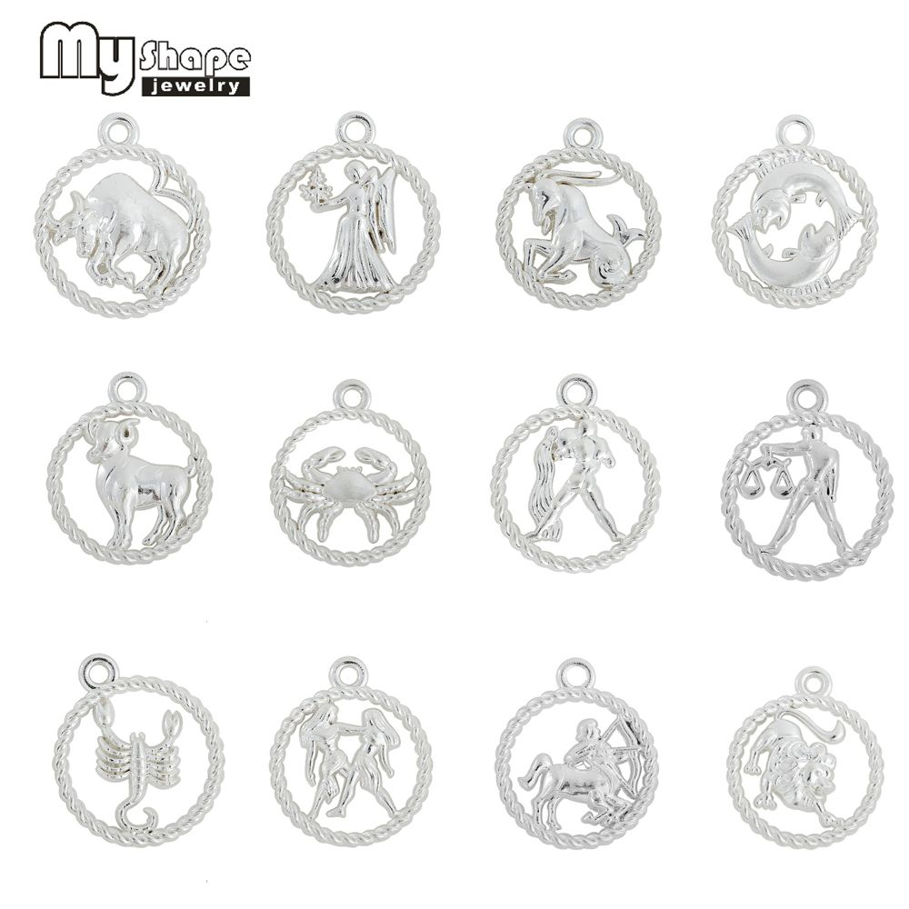 My shape rhodium plated zodiac signs charms constellation astrology